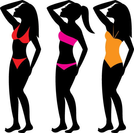 A collection of diffeterent swimsuit types. See others in this series. Ilustrace