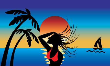 아름 다운 일몰 배경으로 젖은 머리를 스윙 섬 소녀의 실루엣.
