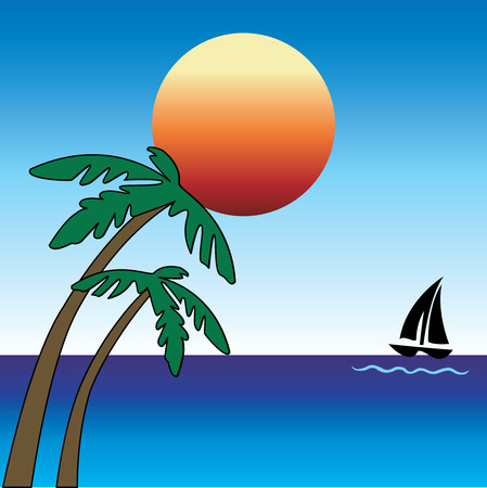 Summer day with Palm Trees and Sailboat. Vector