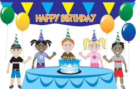 A birthday party with cake. Five young happy kids celebrating. Can be used as an invitation. Available in all girls, all boys and mixed group of kids. Vector