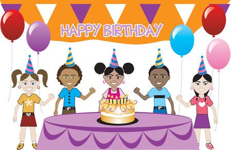 케이크와 함께 생일 파티입니다. 5 젊은 행복 한 아이 축 하. 초대장으로 사용할 수 있습니다. 모든 소녀, 모든 소년 및 혼합 된 어린이 그룹에서 사용할 일러스트