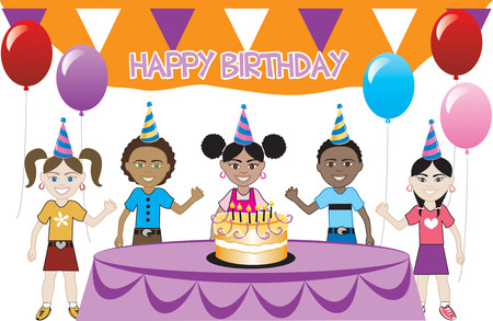 A birthday party with cake. Five young happy kids celebrating. Can be used as an invitation. Available in all girls, all boys and mixed group of kids. Illustration