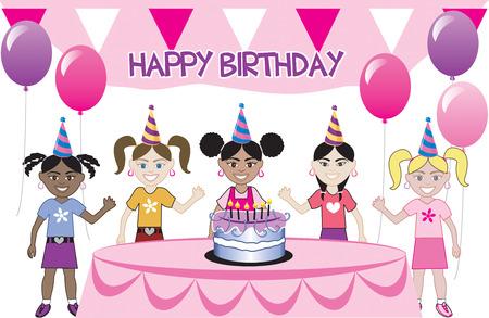 Een verjaardags partij met een cent. Vijf jonge gelukkige kinderen vieren. Kan worden gebruikt als een uitnodiging. Beschikbaar in alle meisjes, alle jongens en gemengde groep kinderen.