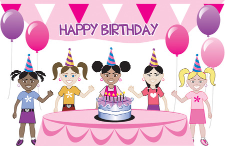 A birthday party with cake. Five young happy kids celebrating. Can be used as an invitation. Available in all girls, all boys and mixed group of kids. Vectores