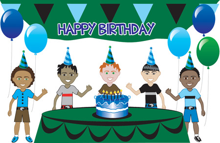 birthday party kids: A birthday party with cake. Five young happy kids celebrating. Can be used as an invitation. Available in all girls, all boys and mixed group of kids. Illustration