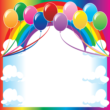 10 colors of balloons, available with different backgrounds. Vector Illustration.
