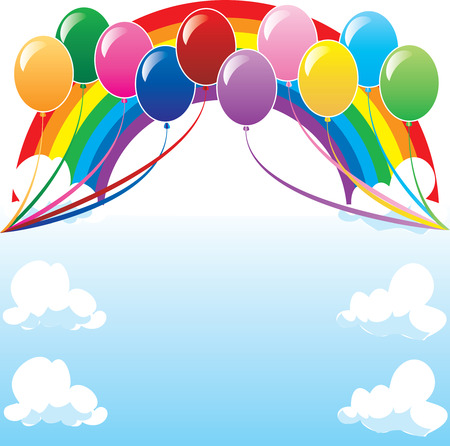 10 colors of balloons, available with different backgrounds. Vector Illustration. Stock Vector - 5413227
