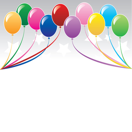 10 colors of balloons, available with different backgrounds. Vector Illustration. Stock Vector - 5413228
