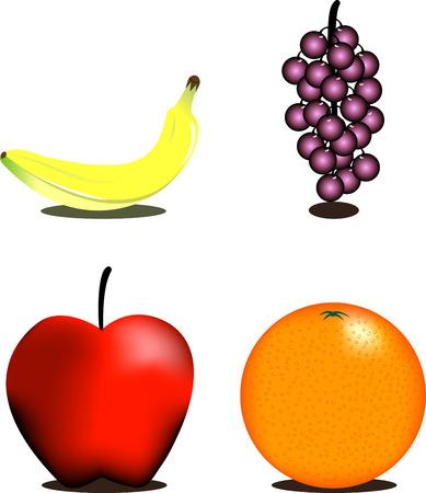 sistema operativo: Saludable de frutas Iconos. Os de cuatro piezas de fruta fresca saludable. Vectores
