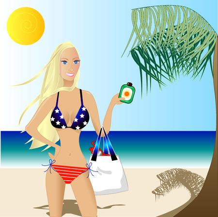 4th of July Beautiful Woman in a Bikini, Patriotic Beach Scene with White Caucasian Woman. Vector. Çizim