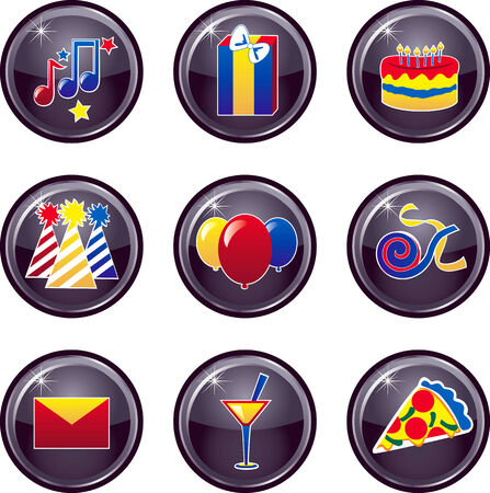 colorful straw: Party Icon Buttons Vector that can be used as web icons, buttons or anything else.