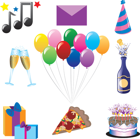 Party Icons. Vector can be used for any type of party or celebration. Иллюстрация