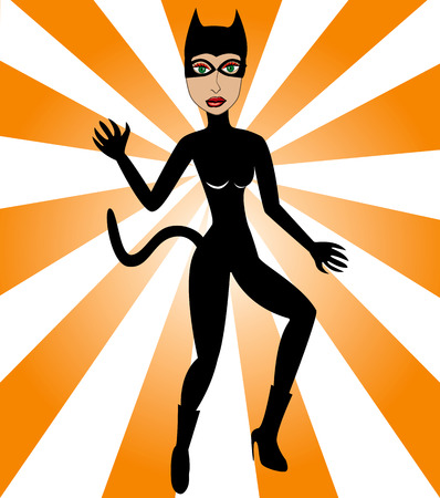 Halloween Cat Woman. Cat Woman Costume kan worden gebruikt voor Halloween en / of feest. Stockfoto - 5463829