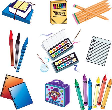 lapiz y papel: Nueve de la escuela los elementos del vector icono. Vectores