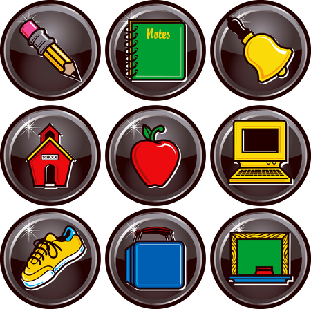 Nine black glossy vector school icon buttons.