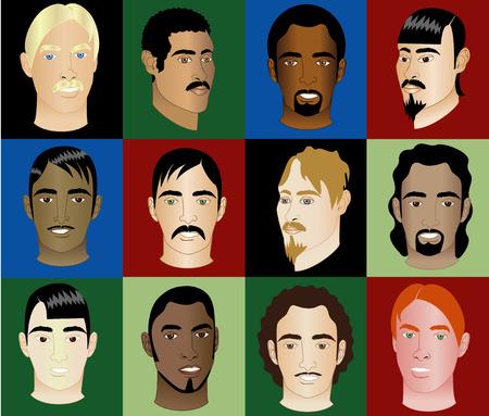Faces de doce hombres de diferentes razas y orígenes culturales. También está disponible en otros conjuntos.  Foto de archivo - 5471213