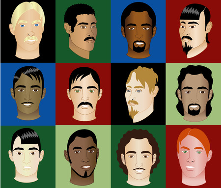Twelve Mens Faces of different races and cultural backgrounds. Also available in other sets.  Illustration
