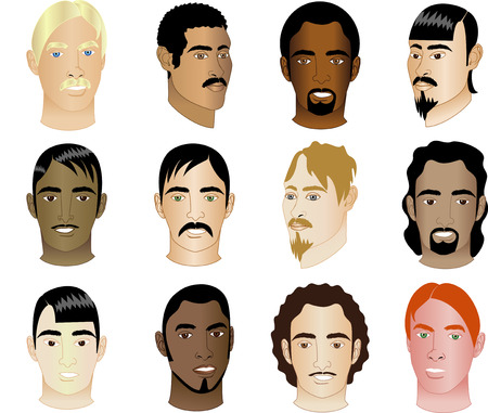 Twelve Mens Faces of different races and cultural backgrounds. Also available in other sets.  Ilustracja