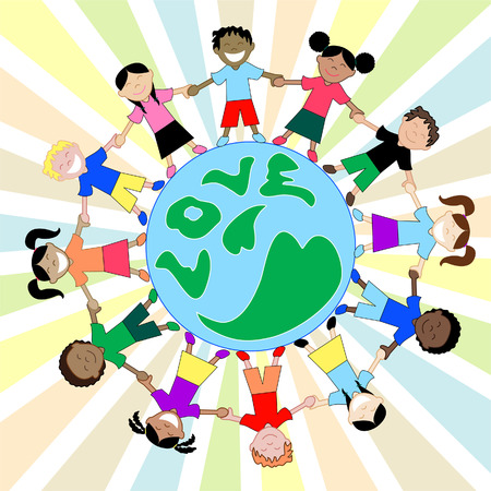 Kids Love Globe. Children from all around the world sharing, showing love and holding hands. Children from America, Africa, Asia, Australia, Caribbean and Middle East. Also available in other sets. Vector