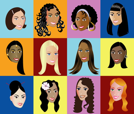 12 Women Faces Diversity with a colorful background. Vector