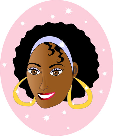 Beautiful Ethnic Woman Smiling. Happy African American Woman, can be a personalized Chrismas Card, see my other variations. Vector
