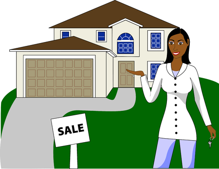 A real estate agent with keys advertising a house for sale. Stock Vector - 5471215