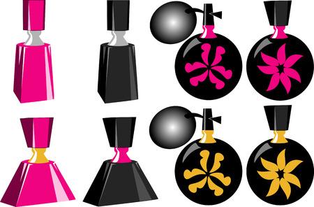 異なった形およびサイズの 8 つの香水瓶。