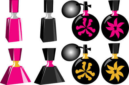 squirt: Eight Perfume Bottles of different shapes and sizes.