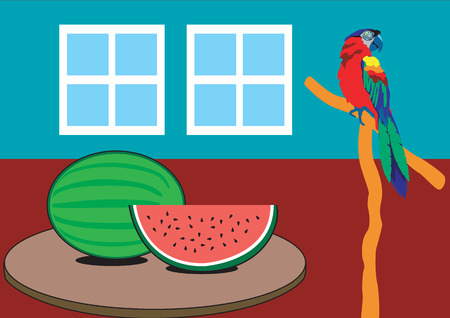 Cool Watermelon on a hot spring or summer day. Stock Vector - 5471211