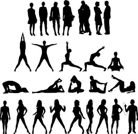 Grupo de personas Siluetas Veinte siete cifras. Ver mis otras ilustraciones! Vectores