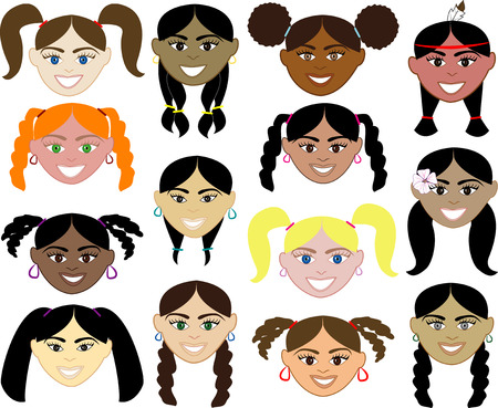 Girls Faces 1. 14 diverse girls faces. Also available in children, boys, girls, women and men faces. Vector Illustration