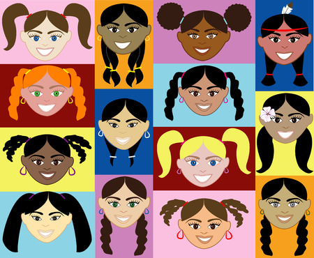 plait: Girls Faces 2. 14 diverse girls faces. Also available in children, boys, girls, women and men faces. Vector Illustration