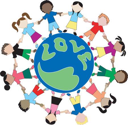 Kinderen van over de hele wereld delen, liefde te tonen en hand in hand. Kinderen uit Amerika, Afrika, Azië, Australië, Caribische en Midden-Oosten. Ook beschikbaar in andere sets.