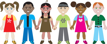 Kids Holding Hands 1. Six Kids from around the world holding hands in unity. Diversity Vector