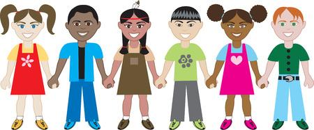Kinderen holding hands 1. Zes kinderen van over de hele wereld hand in hand in de eenheid. Diversiteit