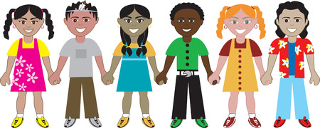 Kids Holding Hands 2. Six Kids from around the world holding hands in unity. Diversity Vector