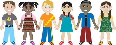 子供が手を取り合って 3。ユニティで手をつないで世界中からの 6 人の子供。多様性