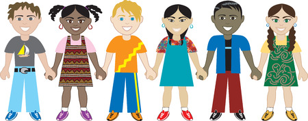 Kids Holding Hands 3. Six Kids from around the world holding hands in unity. Diversity Vector