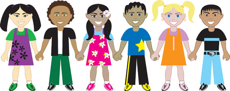 multiethnic: Kids Holding Hands 4. Six Kids from around the world holding hands in unity. Diversity Illustration