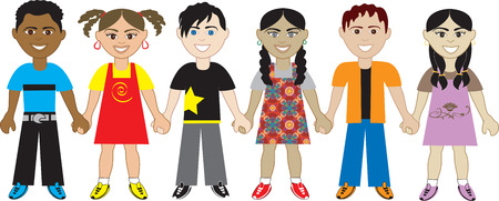 Kids Holding Hands 5. Six Kids from around the world holding hands in unity. Diversity Vector