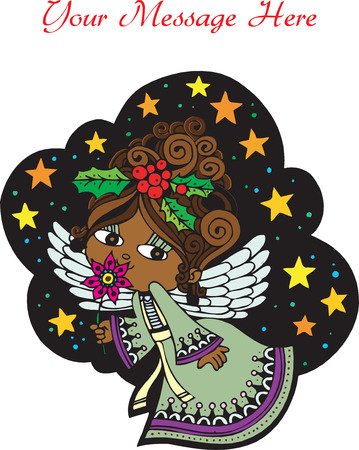 fully: Christmas Card Angel 4. Christmas Card with Angel, vector, fully editable.