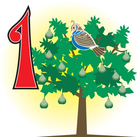 クリスマスの 12 日間。カウントする方法を学ぶためにも使用できます。12 のすべてのカードを参照してください。