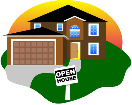 Real Estate, open house with an open door. Vector Illustration. Illusztráció