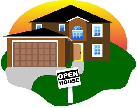open huis: Real Estate, open huis met een open deur. Vector illustratie.