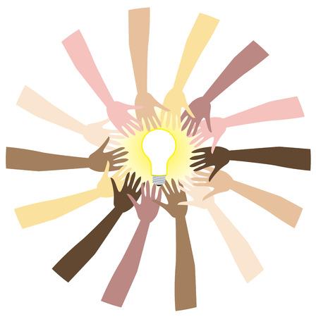 lightbulb idea: Teamwork can bring great ideas.Illustration showing diversity and teamwork.