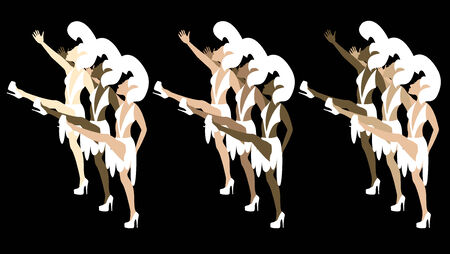 Las Vegas Showgirl Dancers with costumes giving high kicks. Stock Vector - 5628623