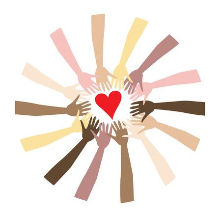 paz mundial: Paz mundial que se muestra a trav�s de un conjunto diverso de manos.