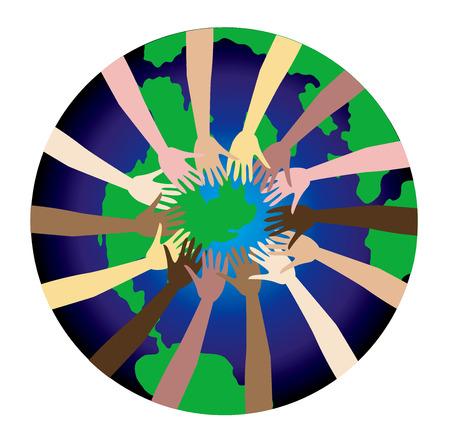 donna spagnola: Pace nel mondo mostrata attraverso un insieme diversificato di mani.