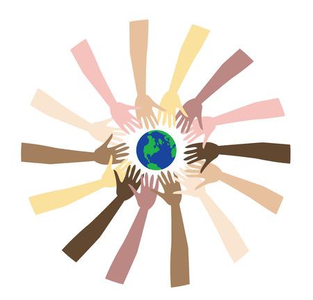 donna spagnola: World Peace mostrata attraverso una serie diversificata di mani.