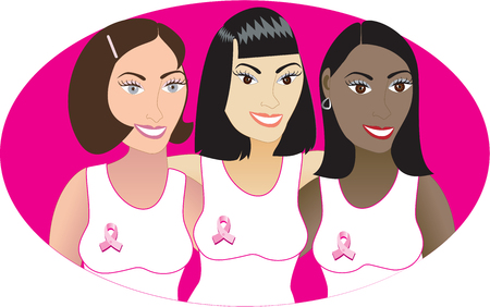 Illustration for Breast Cancer awareness month.  Ilustração